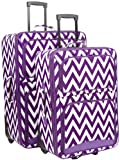 Ever Moda Chevron 2 Piece Luggage Set (Purple)
