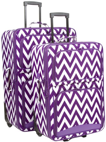 Ever Moda Chevron 2 Piece Luggage Set (Purple) by Ever Moda