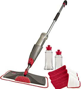 Rubbermaid Reveal Spray Mop Floor Cleaning Kit, Bundles: 1 Mop, 3 Multi-Surface Microfiber Wet Mopping Pads, 2 Refillable Bottles (1892663)