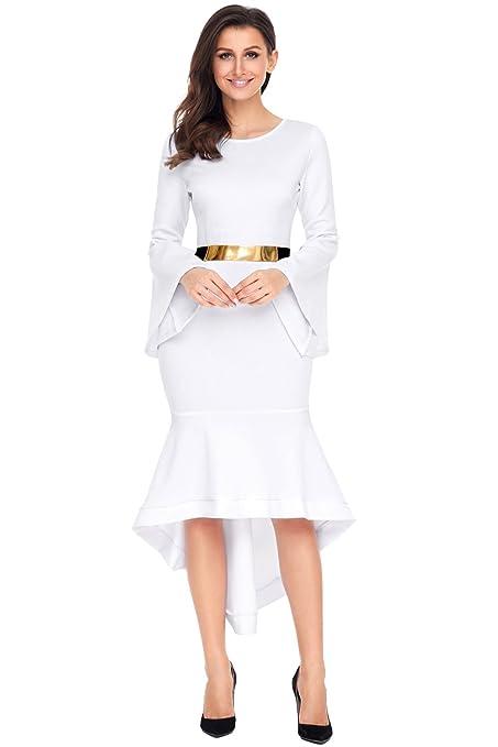 Nuevo Blanco asimétrico Bell manga Midi vestido de noche Prom Cóctel Fiesta wedging tamaño vestido UK