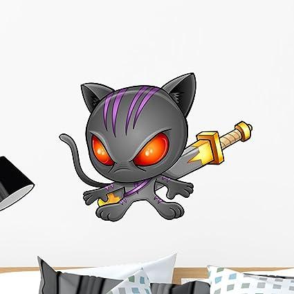 Amazon.com: Wallmonkeys Cute Kitten Warrior Ninja Wall Mural ...