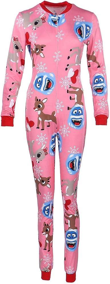Invierno Pijama Mujer,Monos de Vestir Mujer,Servicio a Domicilio Monos con Solapa en la Espalda y Bot/ón Trasero,con Cuello en V,Manga Larga,Monos Ajustados de una Pieza