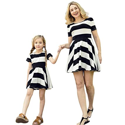 63993b4c2e74fb Amazon.com: EnjoCho Summer Family Clothes Mother Daughter Dresses Womens  Girl Short Sleeve Striped Mini Dress Family Matching Kids Outfits (Size:XL,  ...