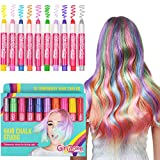 GirlZone HAIR CHALK BIRTHDAY GIFTS FOR GIRLS: 10 Colourful Pens - Washes Out Easily With No Mess – 10 Metallic, Glitter & Colour Pens, For All Hair Colours - 80 Applications Per Chalk Pen. Birthday Present Gifts For Girls Age 3 4 5 6 7 8 9 + years old.
