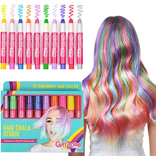 GirlZone: Hair Chalk Christmas Birthday Gifts For Girls, 10 Colorful Hair Chalk Pens. Temporary Color, Presents For Girls Age 4 5 6 7 8 9 10 Years Old