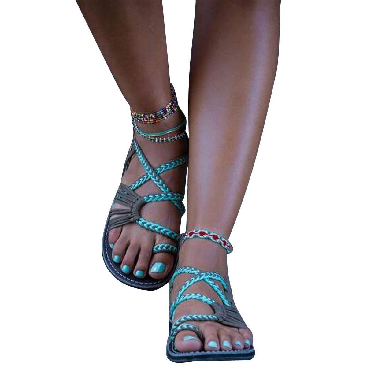 Sandales Sandales Femme Tressée Sandales Vert Femmes Chaussures de Plage Plats Chaussures Bohême Clip Toe Herringbone Flip Flops X Vert 96edc0b - deadsea.space