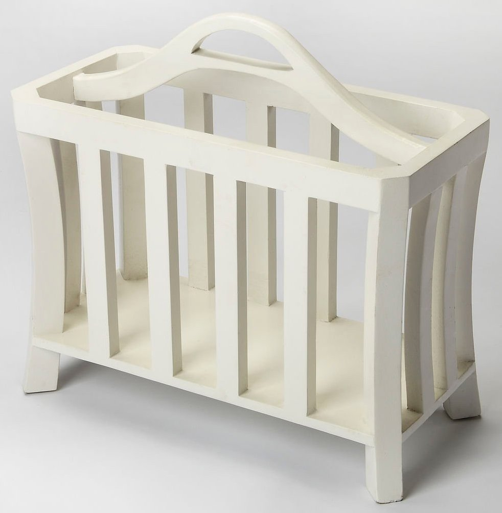 Magazine Basket in Distressed White Finish 797212