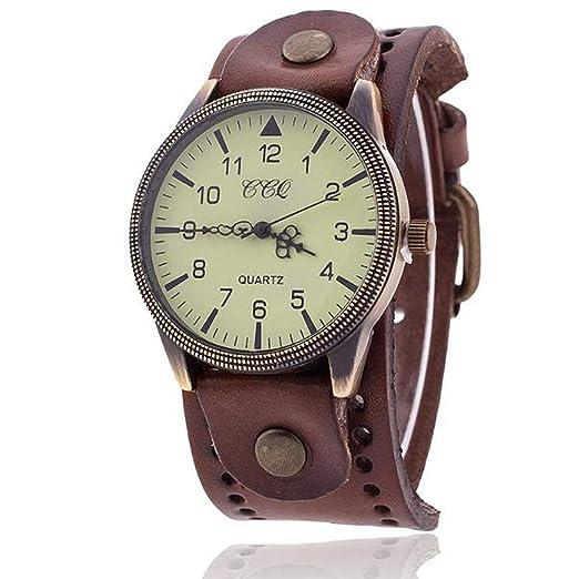 VEHOME CCQ Marca de Lujo Vintage Cuero Reloj Hombres Mujeres Reloj de Pulsera Vestido de Cuarzo-Relojes Inteligentes relojero Reloj reloje hombresRelojes de ...