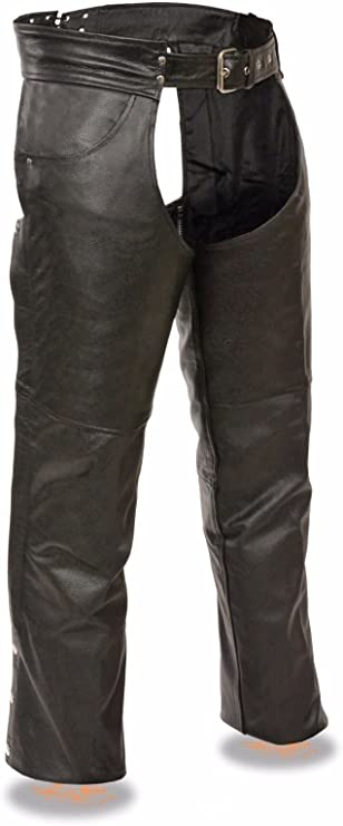 2XL Regular MENS MOTORCYCLE BLACK BRAIDED LEATHER RIDING CHAP PANTS REMOVABLE LINER NEW