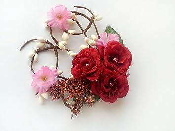Amazon red bridal flower hair accessories wedding flowers red bridal flower hair accessories wedding flowers headpiece red pink bridal flower hairpiece mightylinksfo