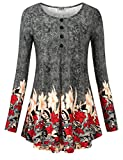 DJT Tunics for Women, Womens Long Sleeves Floral Tunic Shirts Summer Casual Dressy Blouse Tops Black Floral L
