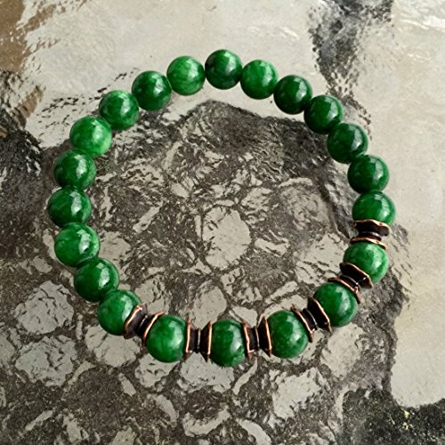 Verd Green jade mala beads Bracelet 8 mm Reiki Healing Wrist bracelet | Energized buddhist Tibetan Yoga Jewelry | US Seller - Jade Bead Beads Bracelet