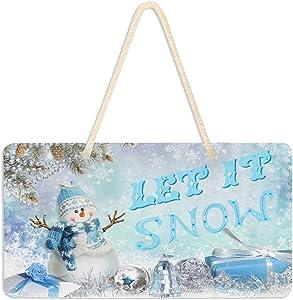 """Vdsrup Winter Snowman Door Sign Plaque Let it Snow Snowflakes Welcome Wall Hanging Signs Front Door Decor Christmas Home Decorative Door Hanger for Bedroom Porch Yard 6"""" X 11"""""""