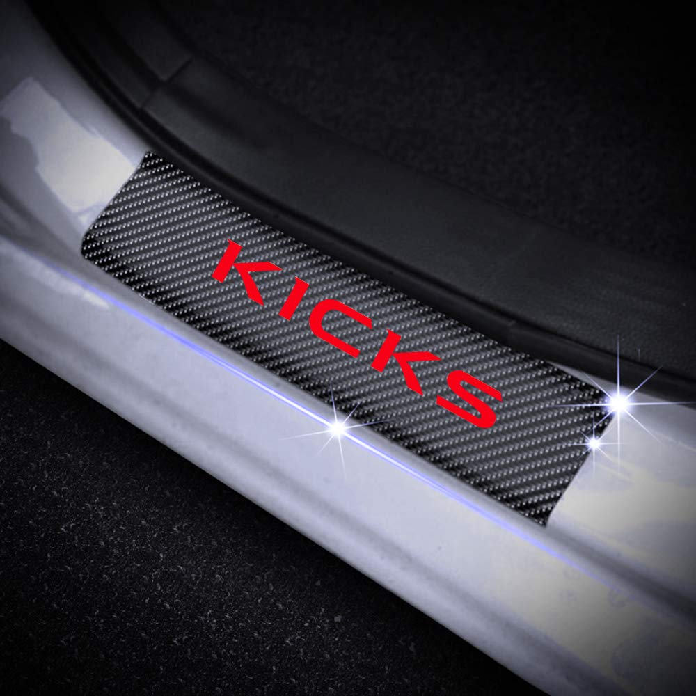 for Nissan Kicks 4D Carbon Fiber Door Entry Guards Paint Scratch Cover Protector Threshold Trim Stickers Red 4Pcs
