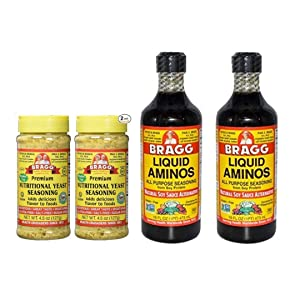 Bragg Nutritional Yeast Seasoning 4.5oz, 2 Pack and Liquid Aminos 16oz, 2 Pack Bundle