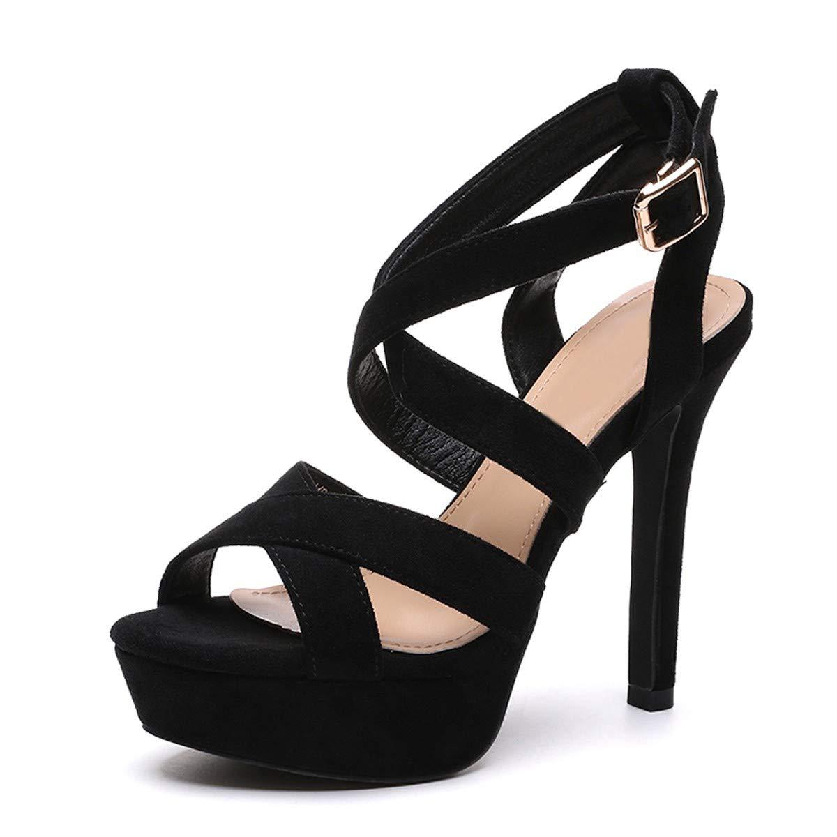 LBTSQ-Sandaleen Cross-Riemchen High Heels 12Cm Mach Meine Fische Mund Schuhe Wasserdicht Tabelle Sexy Roman Ladies'Schuhes