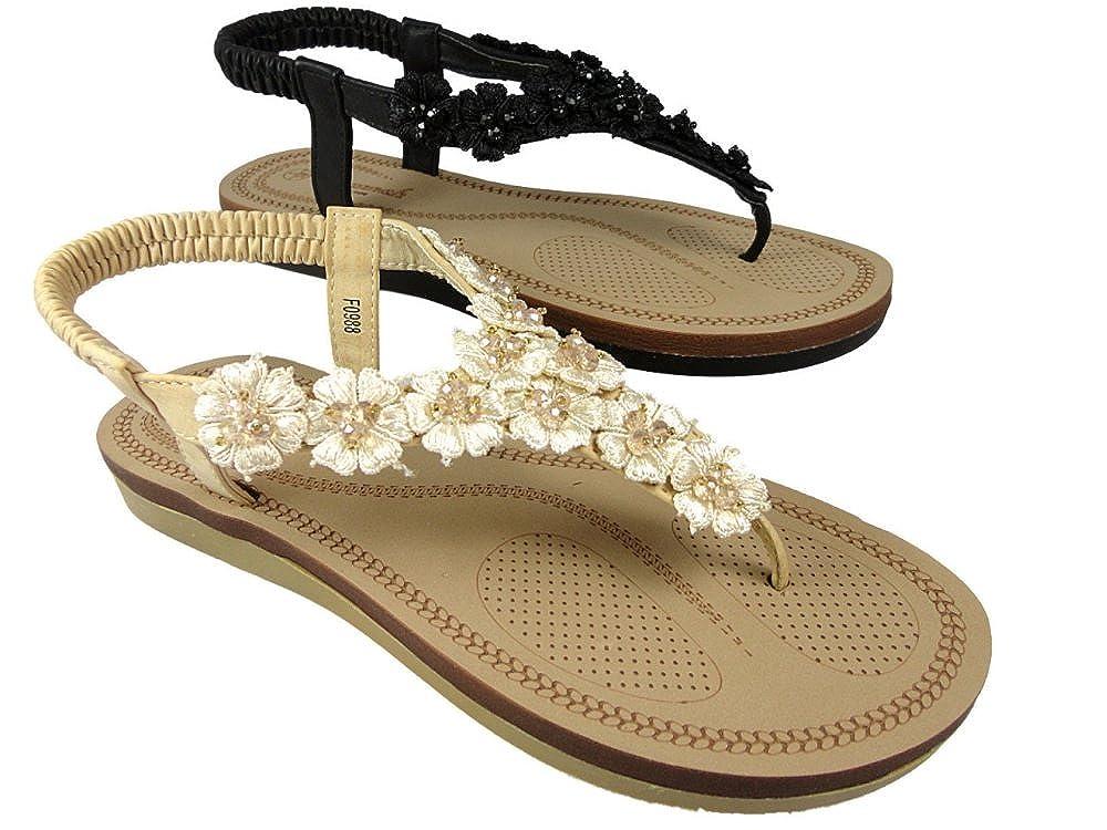 e0b526d19bd82 Savannah Ladies F0988 Toe Post Flip Flop Beach Sandals Comfort Spongy  Footbed Black Beige  Amazon.co.uk  Shoes   Bags