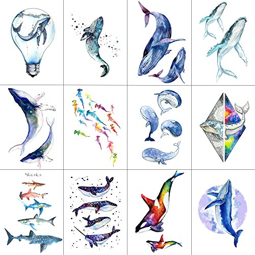 WYUEN 12 PCS/lot Whale Shark Temporary Tattoo Sticker for Women Men Fake Tatoo Body Art Adult Waterproof Stickers 9.8X6cm W12-06 ()