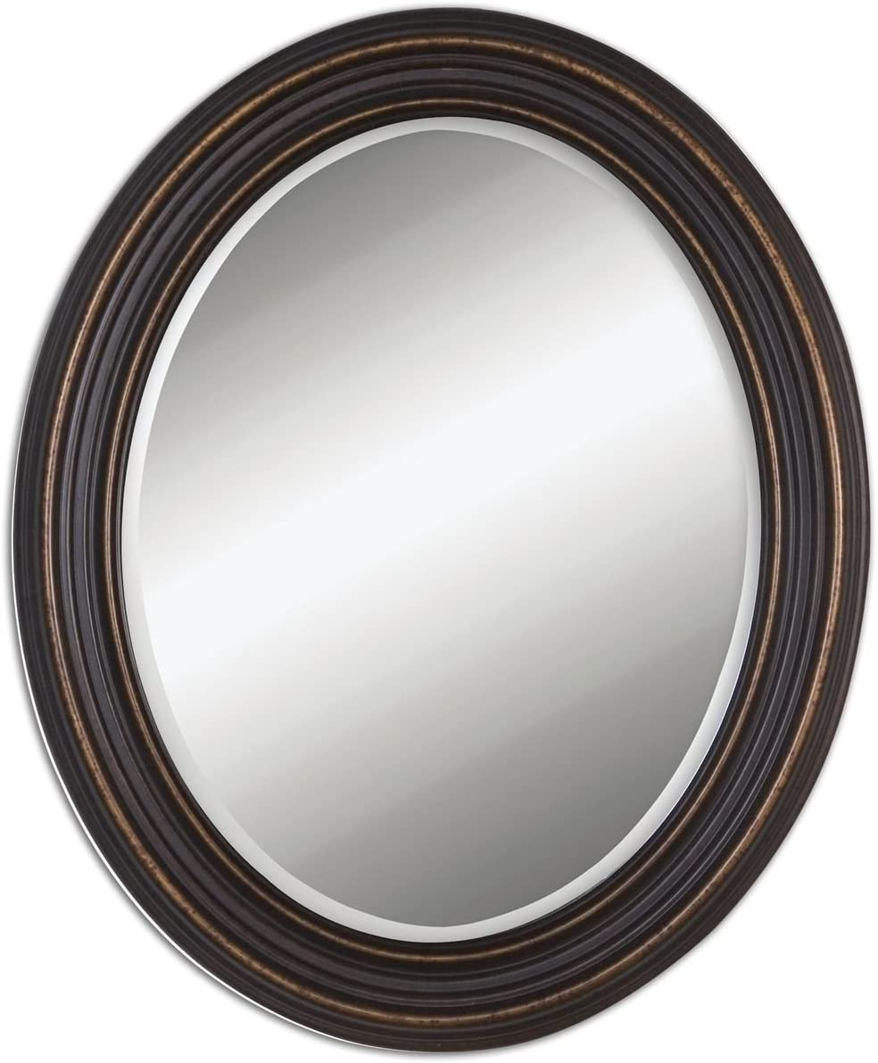 Intelligent Design Classic Oval Bronze Wall Mirror Traditonal Brown Vanity