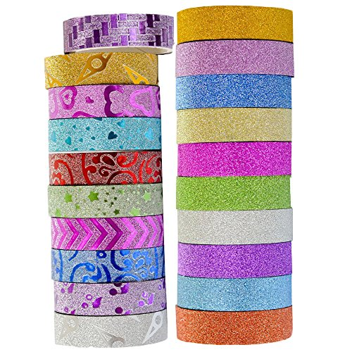 20 Rolls Colored Washi Masking Tape Set,Glitter Floral Decorative Tape for DIY and Gift Wrapping