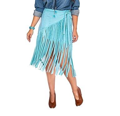 L&B Falda con Flecos envolventes de Espuma de mar para Mujer ...