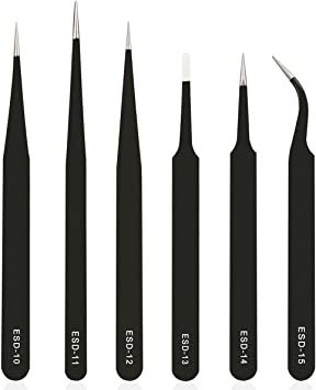 Stainless Steel Big Flat Tip Tweezers for Craft Jewelry Electronics uxcell ESD Precision Anti-Static Tweezers 6 Pack