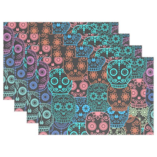 Sugar Skull Dia De Los Muertos Placemat Table Mat, 12