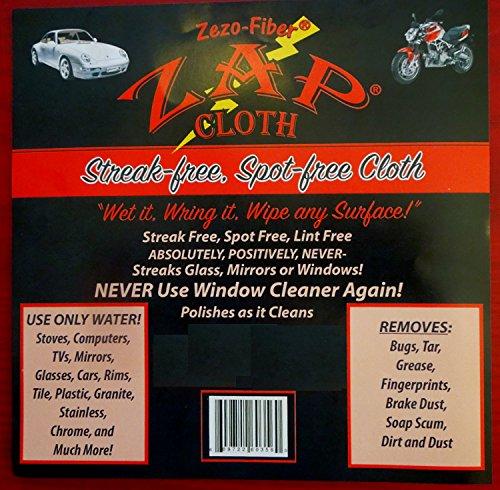Zezo-Fiber - Streak Free, Spot Free - Polishes as it Cleans- 6 Cloths by Zap Cloth