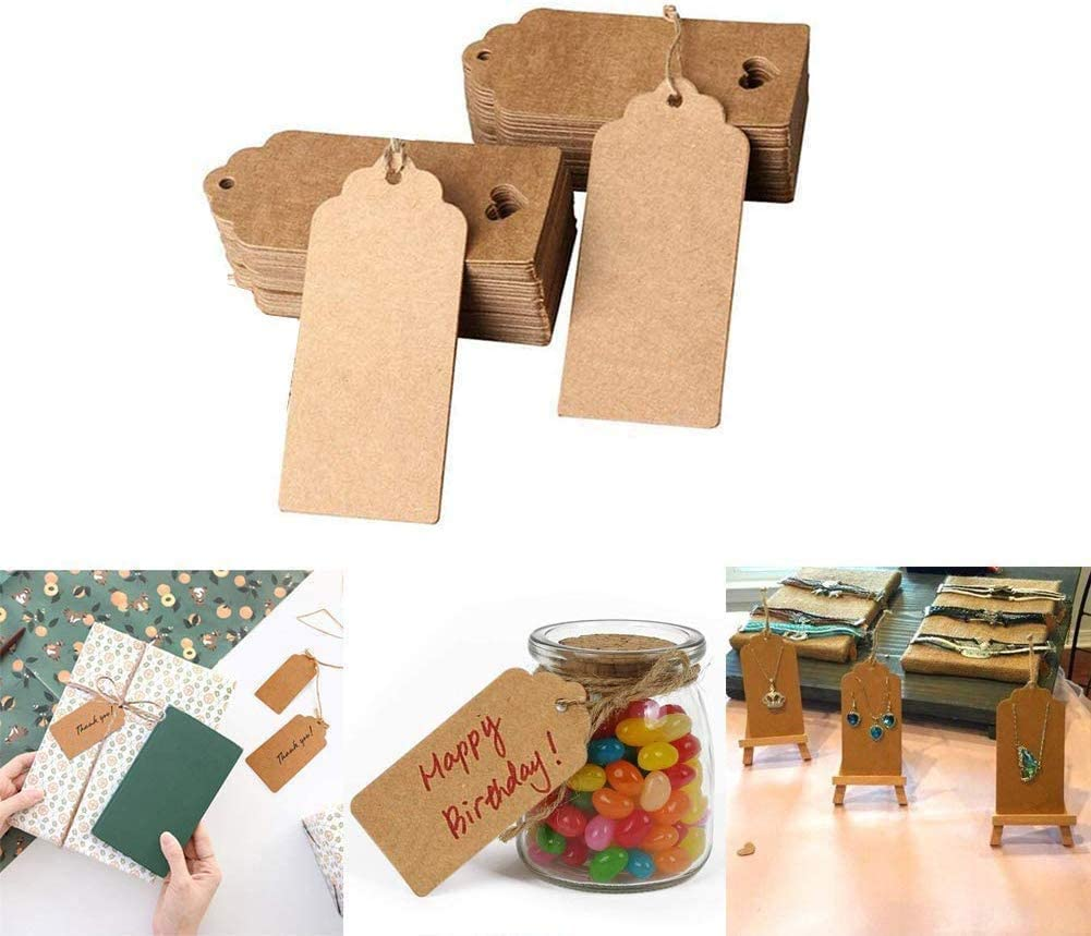 BetterJonny 4cm*9cm DIY Name Tags Kraft Tags Hang Tags with 20 Meters String for Luggage Wedding Party Christmas 200 Pieces Brown Gift Tags