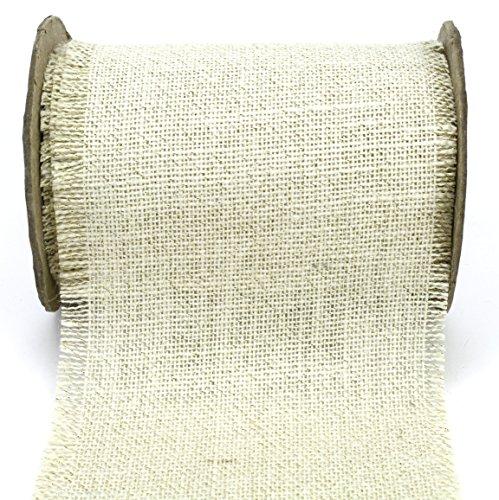Ivory Ribbon Jute (Kel-Toy Fringed Edge Burlap Ribbon with Gold Metallic Thread, 6