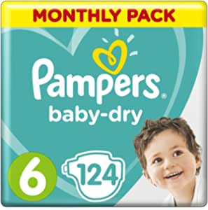 Pampers Baby-Dry Nappies Size 6 Junior, 124 Nappies, 13 to 18 kg, Monthly Pack