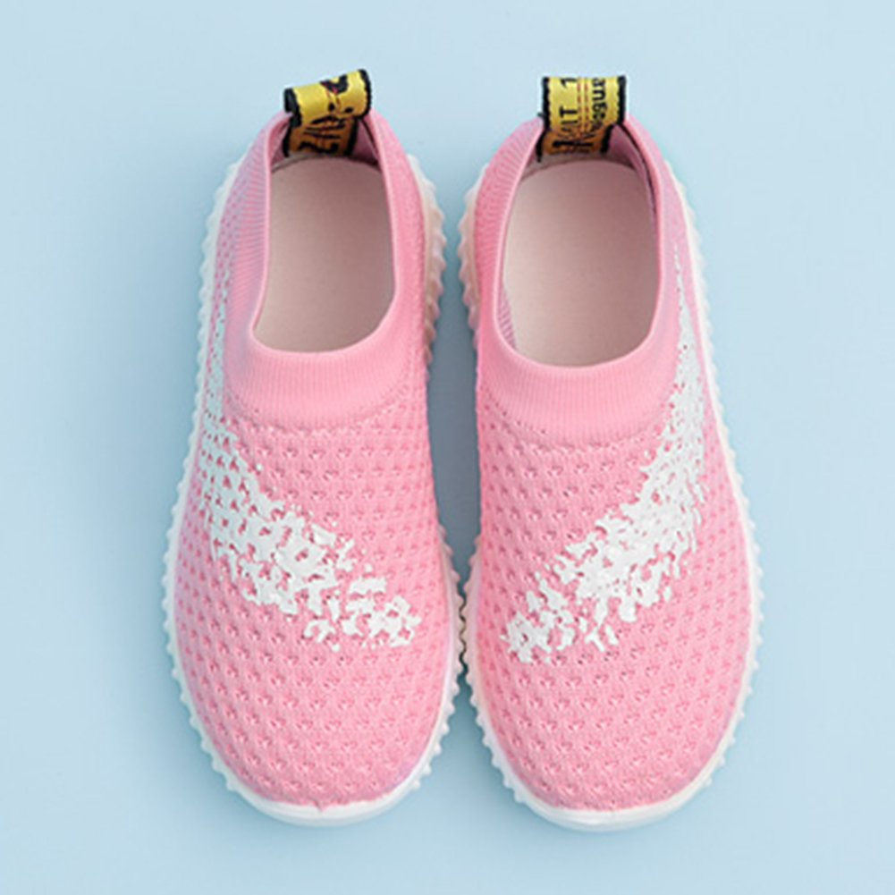 InStar Girls' Sweet Mesh Round Toe Low Top Breathable Slip-ONS Loafers Shoes Pink 5.5 M US Big Kid by SFNLD (Image #4)