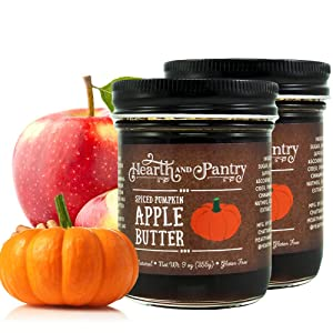 Hearth and Pantry Apple Butter Spread - Spiced Pumpkin Apple Butter - Gluten Free - All-Natural Ingredients - Fantastic Apple Butter Gift - 2 x 9 Ounce Jars