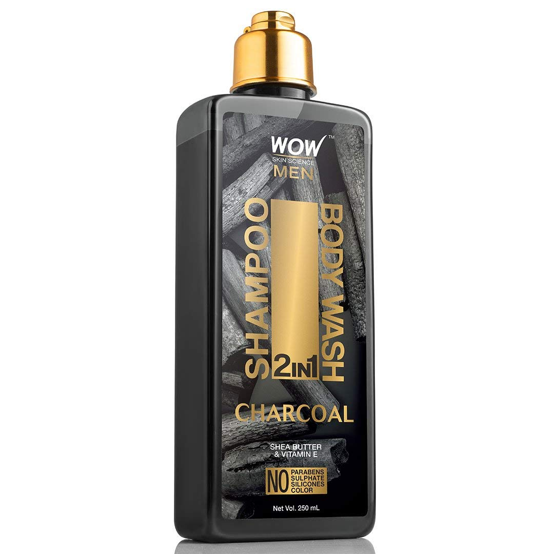 WOW Charcoal 2-in-1 Shampoo & Body Wash - Moisturizating Cleanse For Soft, Healthy Hair & Smooth, Supple Skin - Shea Butter & Vitamin E To Help Reduce Acne & Help Protect Skin Against Dryness - 250 mL