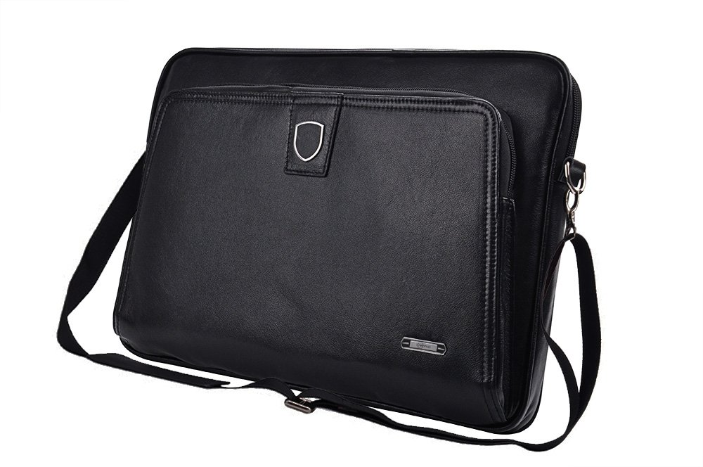 Executive Leather Zip-Close Clutch Case with Shoulder Strap for iPad Pro and 15 inch MacBook Pro,Black