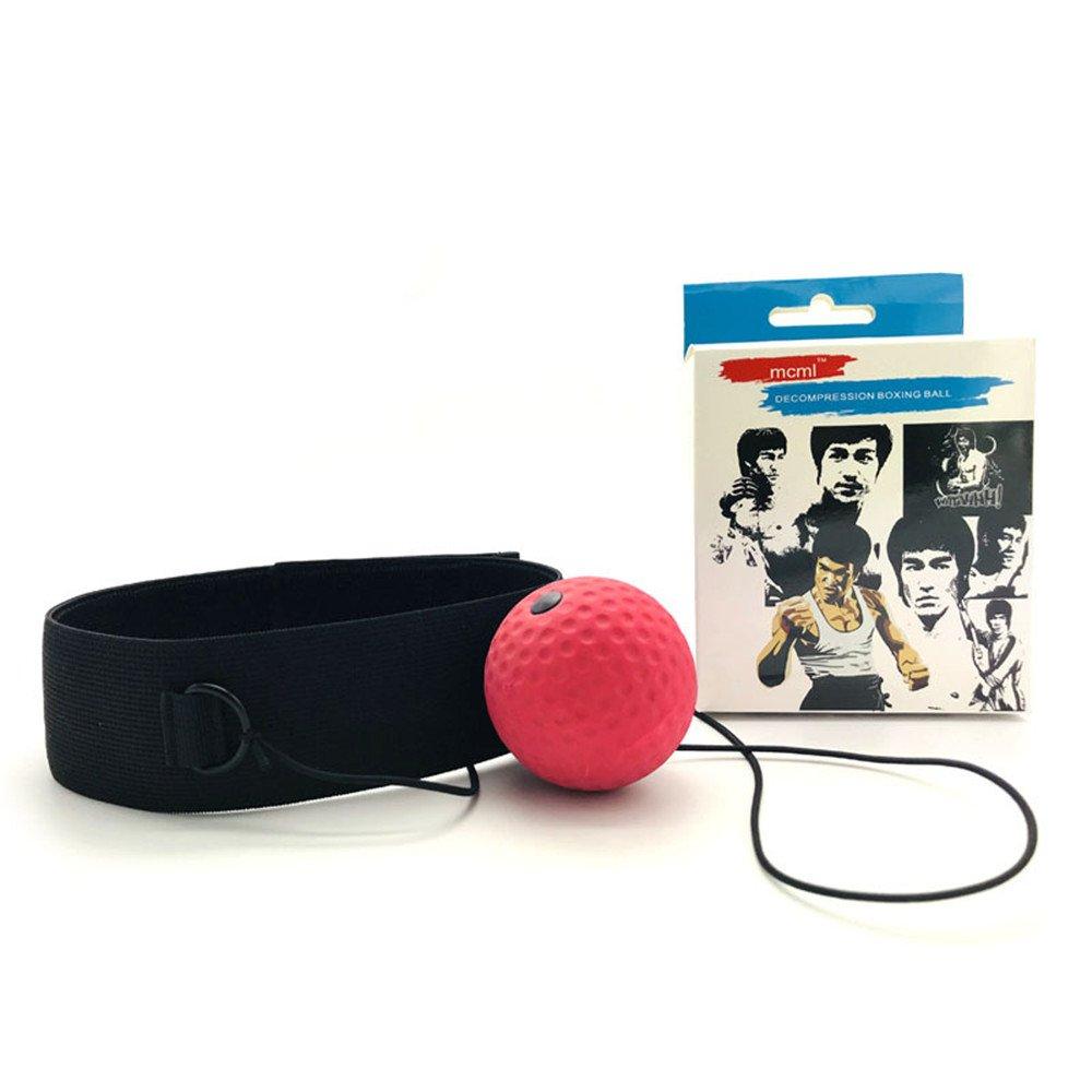 Exclusky Boule de boxe magique Accessoire d'entraînement de Vitesse Réaction Punch Corde élastique avec Bandeau et Boîte