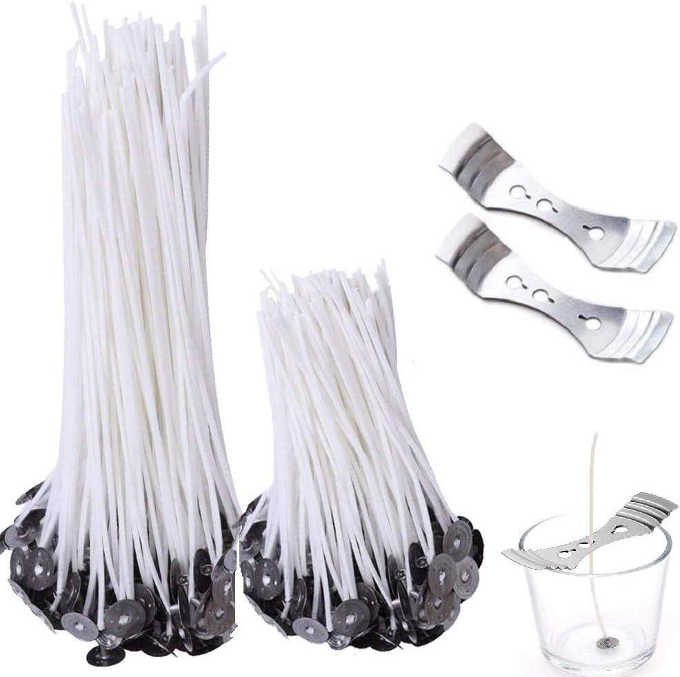 200 mechas de algodón para velas, con 2 soportes, menos humo para hacer velas y manualidades (10/20 cm de largo)