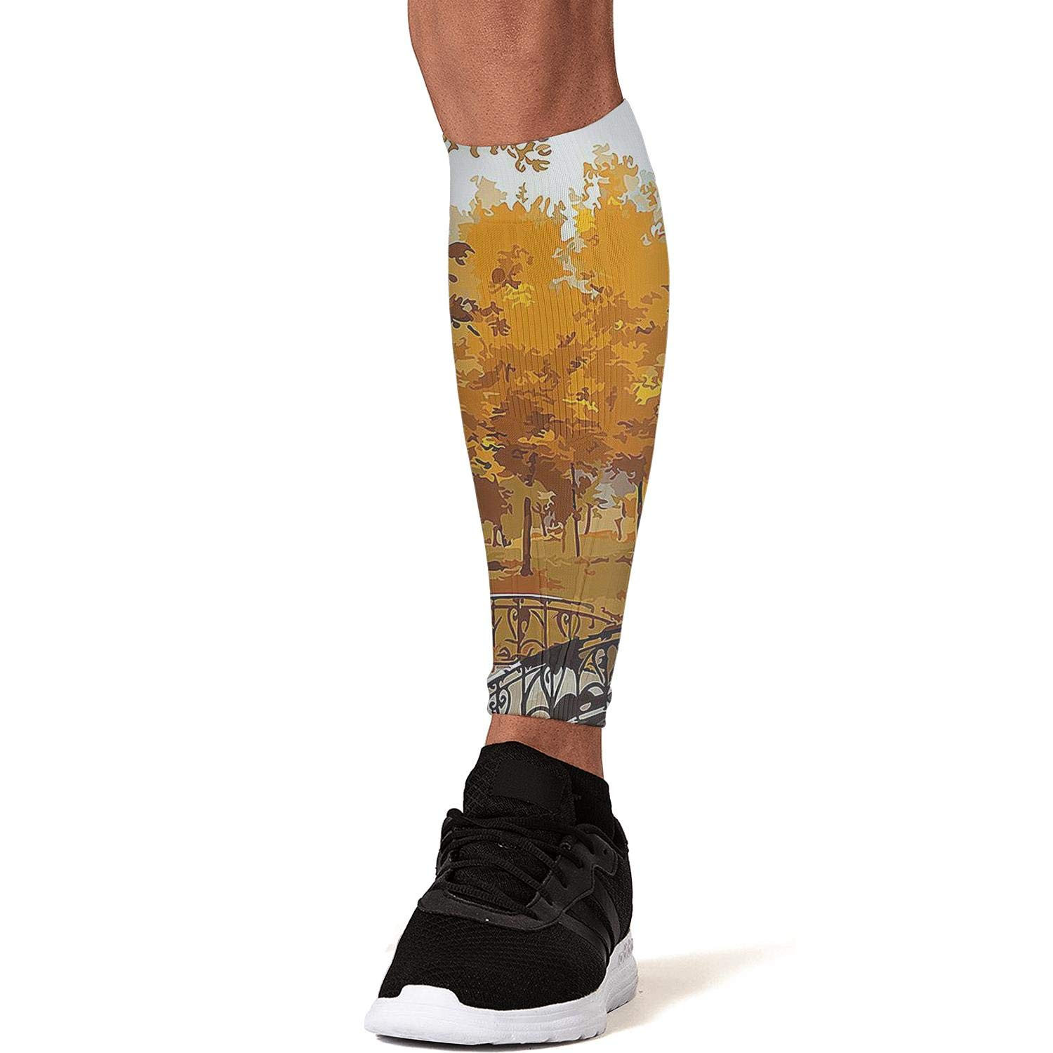 Smilelolly Oil Painting Autumn Forest Bridge Calf Compression Sleeves Helps Faster Recovery Leg Sleeves for Men Women