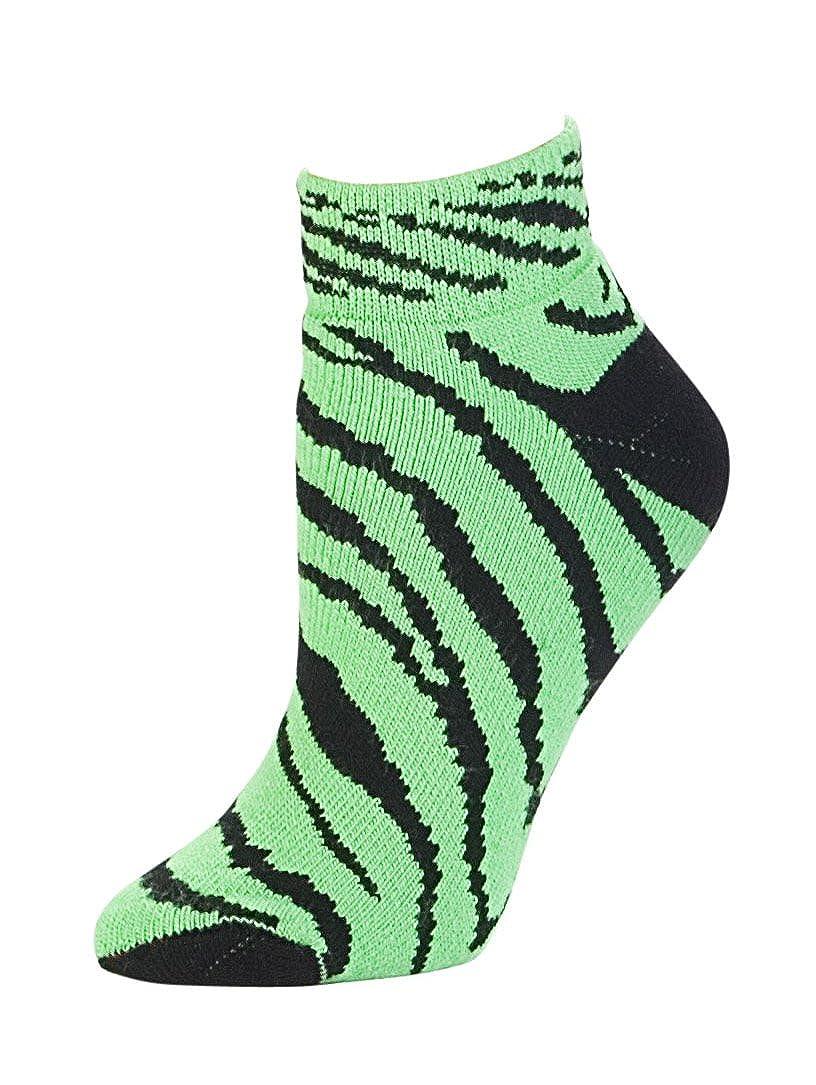 Animal Print Anklet Sock Neon Lime