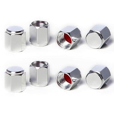 Circuit Performance VC5 Series Silver Aluminum Valve Stem Caps (8 Pieces): Automotive