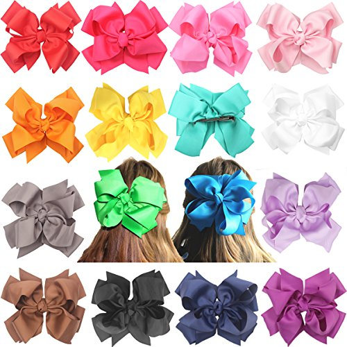 16 pcs 8 inches Huge Big Bow Clip Boutique Hair Bows For Girls Kids Children Women Alligator Hair Clips Grosgrain Ribbon Bows Hair Bands