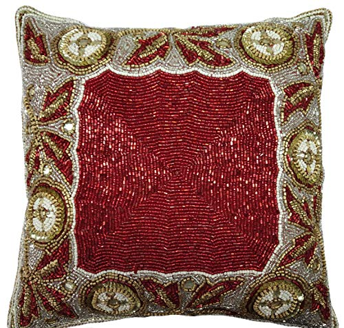 Linen Clubs Beaded Throw Pillow Cover/Euro Sham/Cushion Sham, Super Luxury Soft Pillow Cases-Square Design 14x14 Red Gold Multi (Pillows Walmart Throw Red)