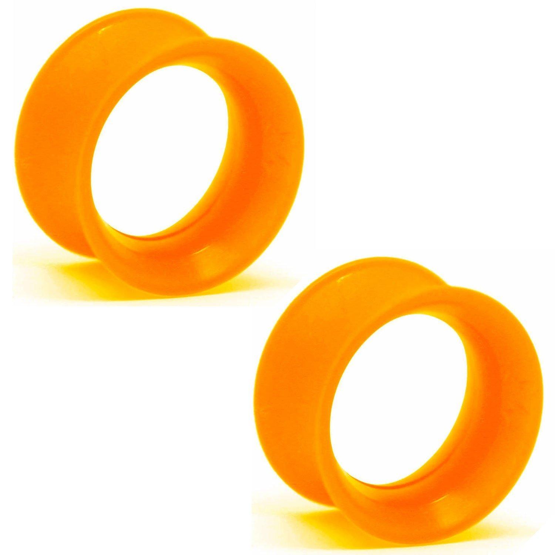 Pair of UV Silicone Double Flared Skin Eyelets: 1/2'', UV Orange