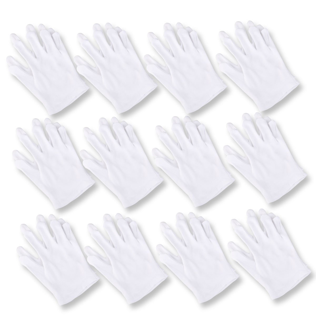 ROSENICE 12 Pairs White Cotton Gloves for Cosmetic Moisturizing and Coin Inspection Beauty Work Glove Liners Unisex