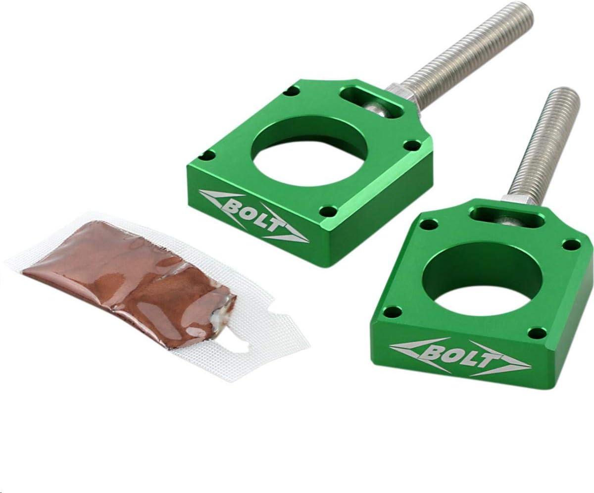 Green Bolt MC Hardware CHAD-KX2.GR Chain Adjuster Blocks Kawasaki KXF