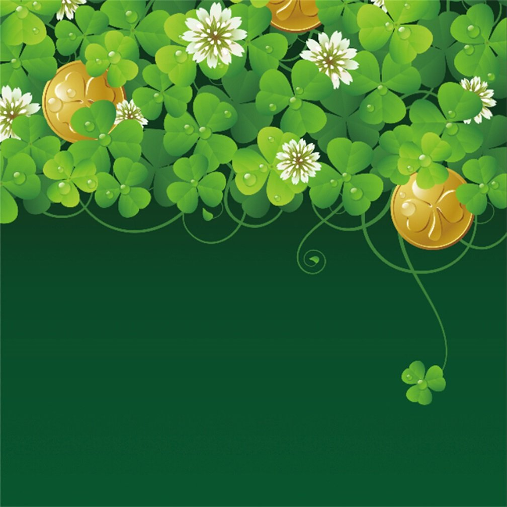 Leyiyi 4x4フィート 写真撮影 背景 幸せな聖パトリックの日 背景 シャムロック 四つ葉のクローバー 水滴 雨 緑の葉 花 金 金属 アイルランドの3月 ホリデー 写真 ポートレート ビニール スタジオ 小道具   B07GTFSXNN
