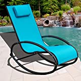 Sundale Outdoor Patio Aluminum Zero Gravity Chair Orbital Rocking Lounge Chair with Pillow Wave Rocker, Capacity 250 Pounds,Blue For Sale