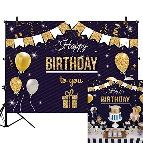 Allenjoy 7x5ft Happy Birthday Glitter Golden Balloons Flags Backdrop for Kids Adults Sweet 16 30th 40th 50th Birthday Party Banner Background Cake Table Decor Sparkly Glamour Stripes Photo Booth Props