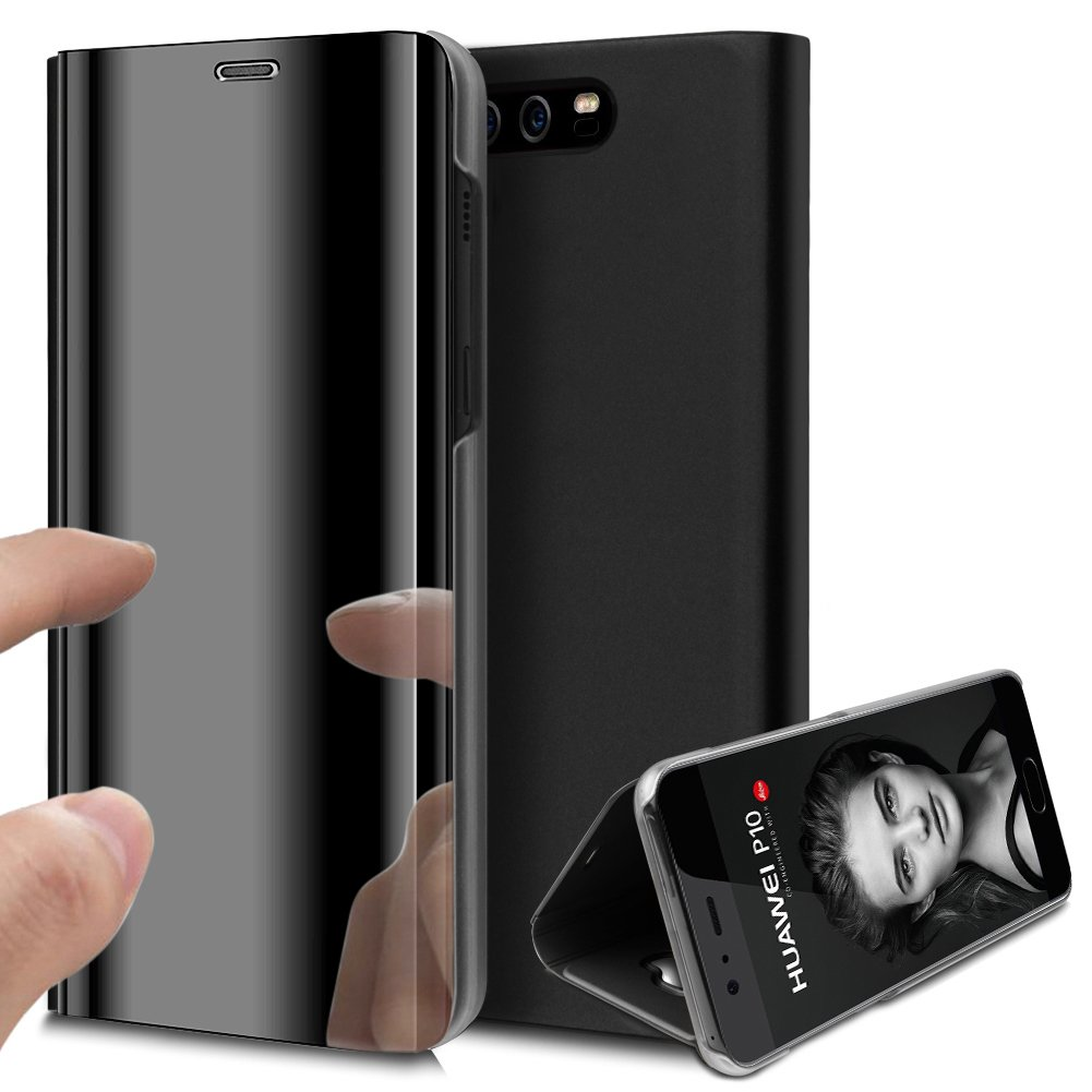 Huawei P10 Plus Case,Huawei P10 Plus Cover,ikasus Ultra-Slim Luxury Shock-Absorption Plating Mirror Makeup Case Cover PU Leather Flip Stand Kickstand Protective Case Cover for Huawei P10 Plus,Black