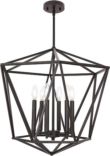VINLUZ Industrial Chandeliers 6 Light Dining Room Lighting Fixtures Hanging Oil Rubbed Bronze Modern Lantern Pendant Light